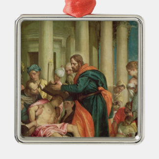 The Miracle of St. Barnabas, c.1566 Square Metal Christmas Ornament