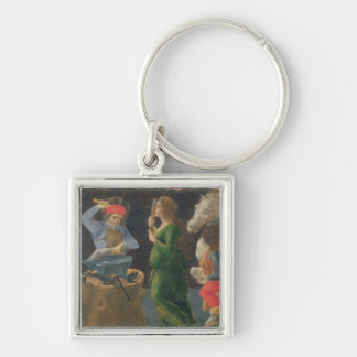 The Miracle of St. Eligius, predella panel from th Silver-Colored Square Keychain