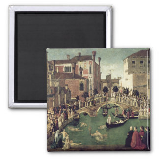 The Miracle of the Cross on San Lorenzo Bridge 2 Inch Square Magnet