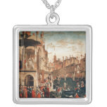 The Miracle of the Relic of the True Cross Square Pendant Necklace
