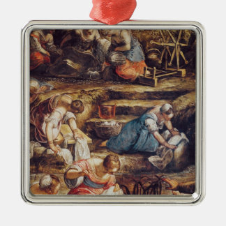 The Miraculous Fall of Manna Square Metal Christmas Ornament