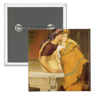 The Mirror, 1868 (oil on panel) 2 Inch Square Button