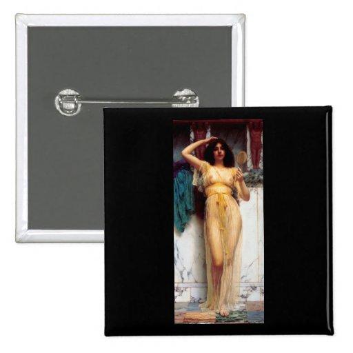 The Mirror - Godward - 1899 Fine Art Oil Painting Pin