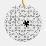The Missing Puzzle Piece Background Template Double-Sided Ceramic Round Christmas Ornament