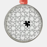 The Missing Puzzle Piece Background Template Round Metal Christmas Ornament