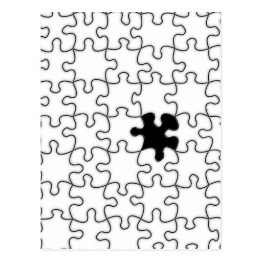 The Missing Puzzle Piece Pattern Postcard | Zazzle