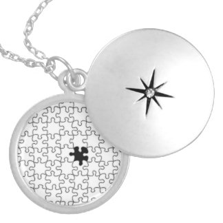 The Missing Puzzle Piece Background Template Round Locket Necklace