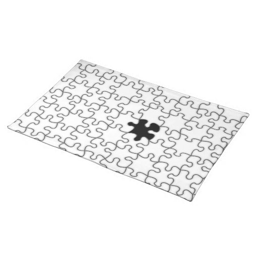 The Missing Puzzle Piece Pattern Cloth Placemat