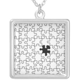 The Missing Puzzle Piece Pattern Silver Plated Necklace