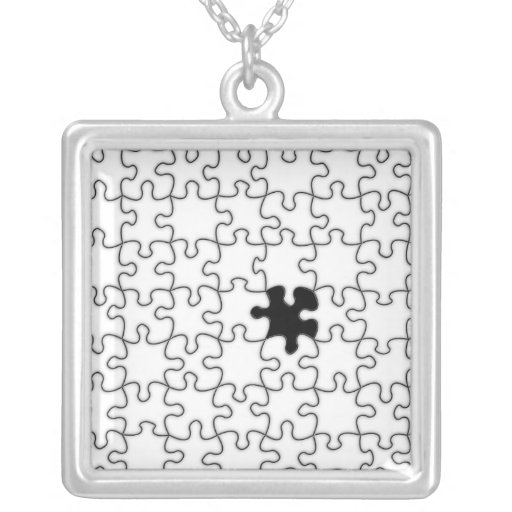 The Missing Puzzle Piece Pattern Square Pendant Necklace