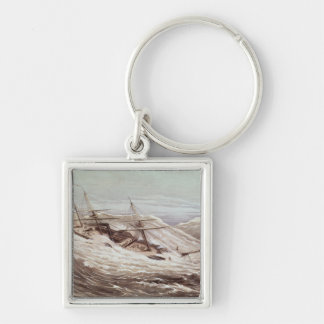 The Mississippi Steam Frigate in a Typhoon Silver-Colored Square Keychain