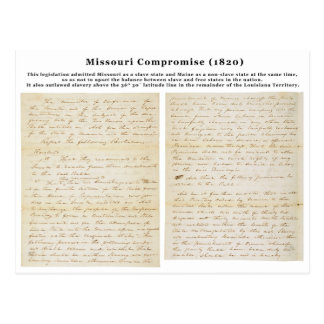 The Missouri Compromise (1820) Postcards