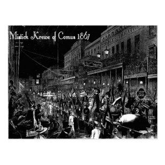 The Mistic Krewe of Comus On Parade , Vintage Post Postcard