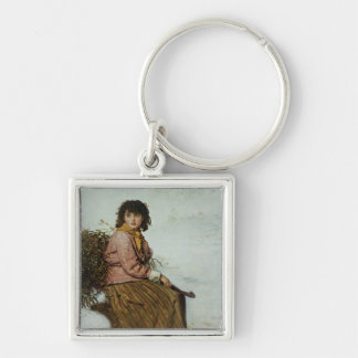 The Mistletoe Gatherer, 1894 Silver-Colored Square Keychain