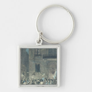 The mob roaming the streets of Paris Keychain