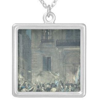 The mob roaming the streets of Paris Square Pendant Necklace