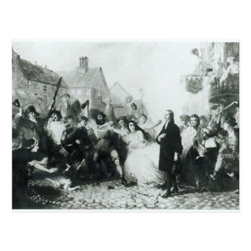 The Mobbing of John Wesley  at Wednesbury Postcard