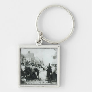The Mobbing of John Wesley  at Wednesbury Silver-Colored Square Keychain