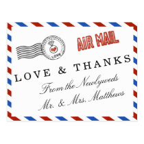 The Modern Airmail Wedding Collection Postcard
