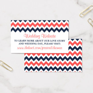 The Modern Chevron Wedding Collection Navy & Coral Business Card