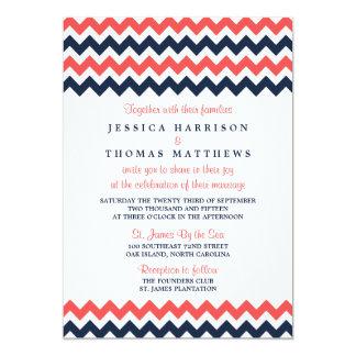 The Modern Chevron Wedding Collection Navy & Coral Card