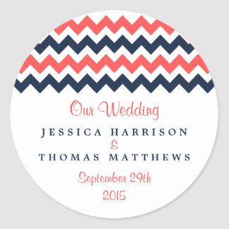 The Modern Chevron Wedding Collection Navy & Coral Classic Round Sticker
