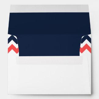 The Modern Chevron Wedding Collection Navy & Coral Envelope