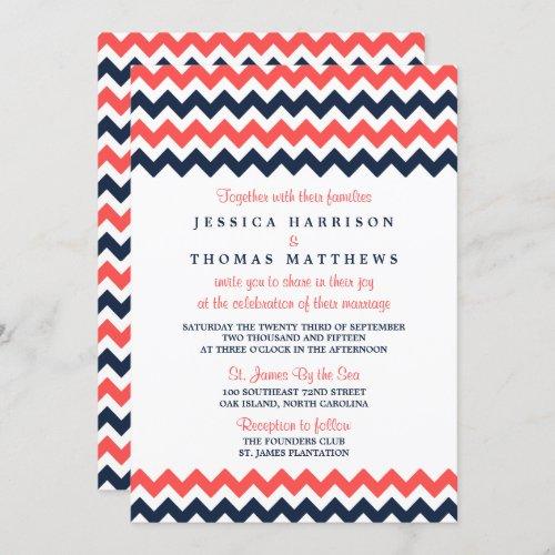 The Modern Chevron Wedding Collection Navy & Coral