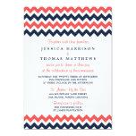 "The Modern Chevron Wedding Collection Navy & Coral 5"" X 7"" Invitation Card"