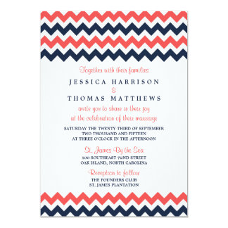 The Modern Chevron Wedding Collection Navy & Coral 5x7 Paper Invitation Card