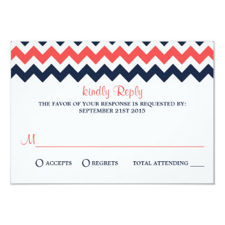 The Modern Chevron Wedding Collection Navy & Coral 3.5x5 Paper Invitation Card