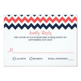 "The Modern Chevron Wedding Collection Navy & Coral 3.5"" X 5"" Invitation Card"