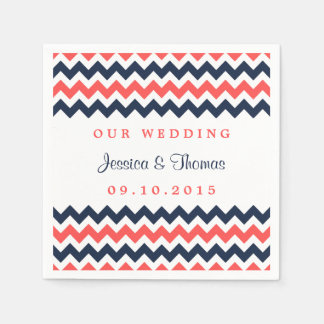 The Modern Chevron Wedding Collection Navy & Coral Napkin