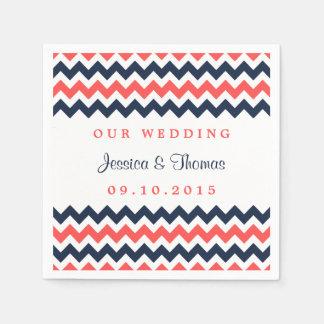 The Modern Chevron Wedding Collection Navy & Coral Napkin