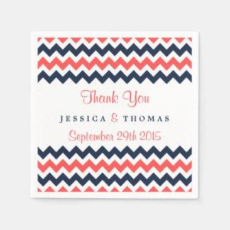 The Modern Chevron Wedding Collection Navy & Coral Paper Napkin