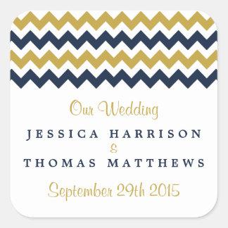 The Modern Chevron Wedding Collection- Navy & Gold Square Sticker