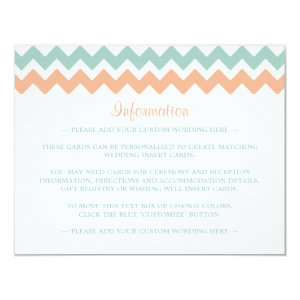 The Modern Chevron Wedding Collection Peach & Mint 4.25x5.5 Paper Invitation Card