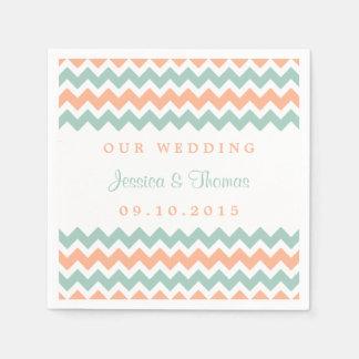 The Modern Chevron Wedding Collection Peach & Mint Paper Napkin