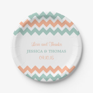 The Modern Chevron Wedding Collection Peach & Mint Paper Plate