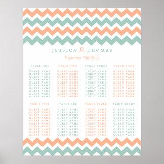 The Modern Chevron Wedding Collection Peach & Mint Poster