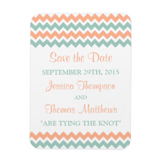 The Modern Chevron Wedding Collection Peach & Mint Rectangular Photo Magnet