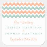 The Modern Chevron Wedding Collection Peach & Mint Square Sticker