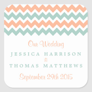 The Modern Chevron Wedding Collection Peach & Mint Square Sticker