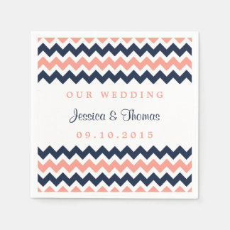 The Modern Chevron Wedding Collection Pink & Navy Paper Napkin
