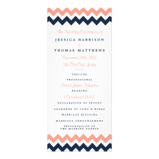 The Modern Chevron Wedding Collection- Pink & Navy Rack Card