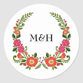 The Modern Floral Wreath Wedding Collection Classic Round Sticker