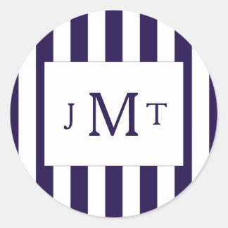 The Modern Navy Stripe Wedding Collection Classic Round Sticker