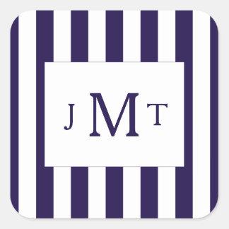 The Modern Navy Stripe Wedding Collection Square Sticker