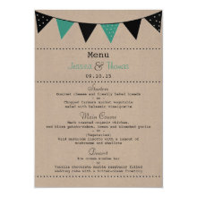 The Modern Turquoise Bunting Wedding Collection 4.5x6.25 Paper Invitation Card