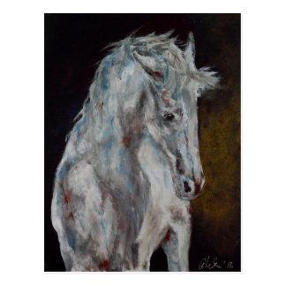 The Modern White Blue Horse Postcard